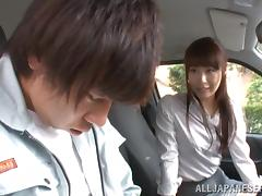 A Lucky Driver Car Fucks a Sexy Japanese Model in His Van