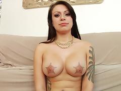 Solo Model With Natural Tits Posing In A Shoot Compilation