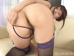 Yui Hatano fingers her pussy and rubs it with a massage dildo