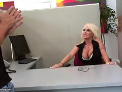 Hot office sex with the busty blonde Holly Halston