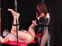 Strapon and milking tube porn video