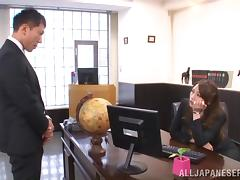 Asian Office Lady With Long Hair Handles Two Cocks