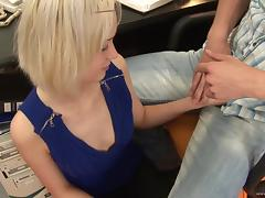 Blonde Drains Cock With Mouth After Blowjob And Hardcore Screwing
