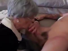 Enthusiastic granny loving young cock