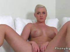 Busty blonde fucking on the casting couch