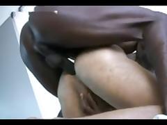 Black guy vigorously fucks a white ass!!!