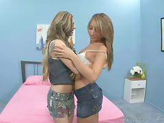 Tattooed Lesbian In Jeans Fingering A Juicy Pussy Nicely