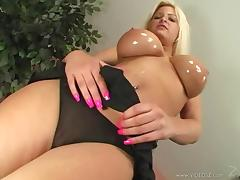Cougar With Oiled Fake Tits Being Pounded Missionary