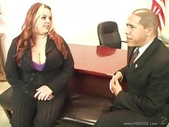 BBW Gets Her Shaved Pussy Pounded In Office For Money