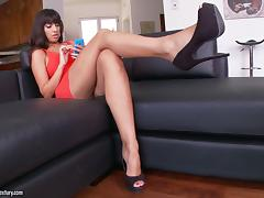 Foot Fetish Brunette Enjoying Her Pussy Being Licked