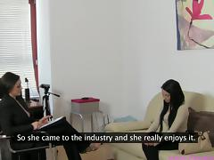 Amazing girl Kerry takes her first porn interview