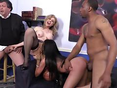 Nina Hartley and Raven Bay enjoy ardent interracial foursome banging