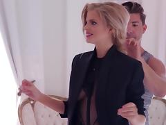 Blonde In Nylon Stockings Putting On Make Up Backstage