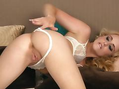 Sami C takes her lace lingerie off and plays with her pussy