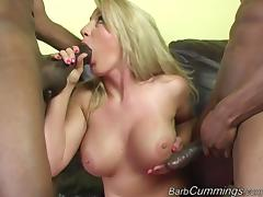 Gorgeous Blonde Pornstar With Big Fake Tits Enjoying A Hardcore MMF Threesome