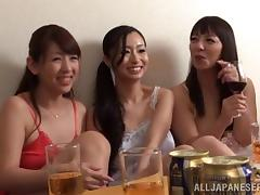 Japanese Babes With Natural Tits Feasted On After Dinner