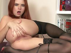 Self-fingering scene with busty redhead Marina Visconti