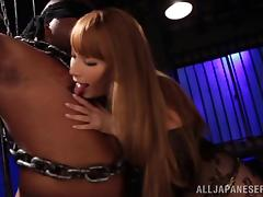 Hot blonde With Long Hair Controls Big Cock On Bondage