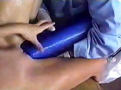 Bitch takes huge dildo's