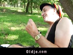 Hippie old guy fucked by a horny sexy girl in the forest tube porn video