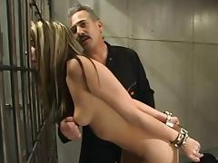 Fun with water and bondage for beautiful blonde