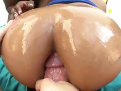 Yasmine deLeon & Ana Foxx lick each other's ebony butts & share a cock