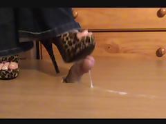 Cock crush in Leopard heels