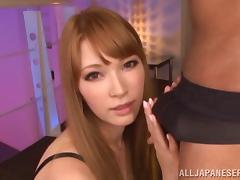 Redhead Hottie Gives An Asian Cock A Blowjob With Cumshot