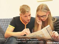 nerdy blonde getting horny