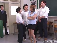 Horny Japanese Teacher In Miniskirt Gangbanged After Hot Blowjob