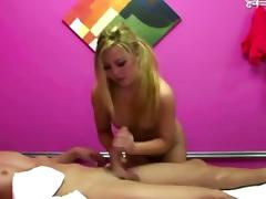 Blonde asian masseuse gets naked at work