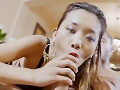 Asian bimbo fucks while in stockings