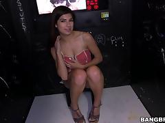 Pleasant Brunette Teen In Short Sucking A Huge Dick
