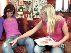 Redhead Lesbian In Jeans Fingering A Juicy Tight Pussy