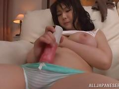 Attractive Asian Dame With Big Tits Masturbating Passionately