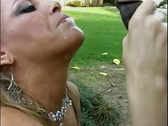 Mature white woman gives a deepthroat blowjob to a lucky young black guy