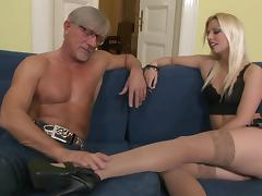 Blonde With Long Hair Does Awesome Foot Fetish