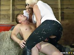 Gorgeous Blonde Porn Star Enjoying A Hardcore FFM Threesome In A Stable