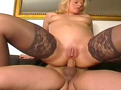 Blonde Hottie in Stockings Anal Fucking on Sofa