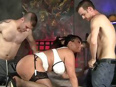 Ava Devine gets face-fucked, sandwiched and facialed