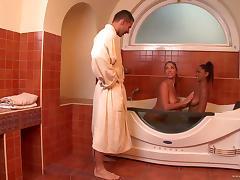 Bath, Bath, Bathing, Bathroom, Ebony, Foursome