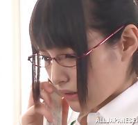 Endearing Asian Dame In Glasses Giving Huge Dicks Handjob