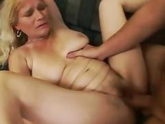 Mature blonde satisfies young cock