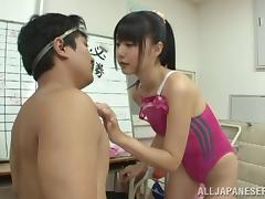 Arousing Asian hottie Tsubomi in bathing suit gets pounded doggystyle