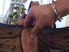 Milf in bodystocking gets her pussy fingered and drilled deep