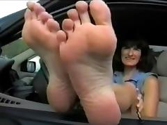 Large Feet in Parking Lot