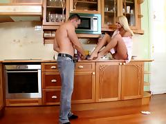 Naughty porn hottie Ivana Sugar in a hardcore kitchen fuck adventure