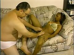 Pleasant Ebony With Natural Tits Giving Massive Dick Handjob