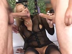 Anal for blondie in fishnet