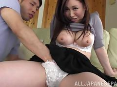 Epic Japanese Cowgirl Thrilled As Her Big Tits Are Sucked